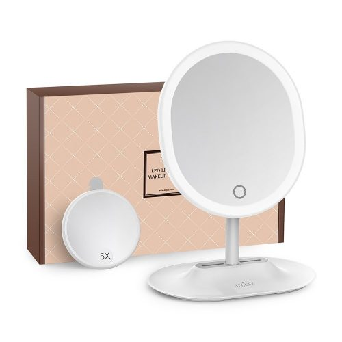 Makeup Mirror Rechargeable LED Lighted with 1X / 5 X Magnification - Ring Lighted Mirrors