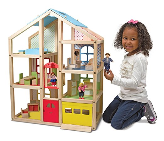 Melissa & Doug Hi-Rise Wooden Dollhouse - Doll House Toys