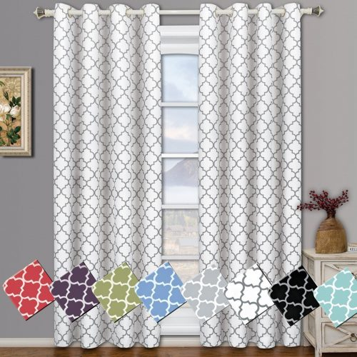 Meridian White Grommet Room Darkening Window Curtain Panels, Pair / Set of 2 Panels, 52x84 inches Each, by Royal Hotel- darkening curtain