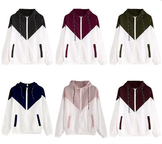 Milumia Women's Color Block Drawstring Hooded Zip Up Sports Jacket Windproof Windbreaker - Windbreaker jackets