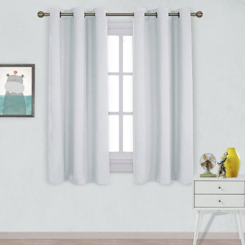 NICETOWN Window Treatment Thermal Insulated Grommet Room Darkening Curtains Drapes for Bedroom(2 Panels,42 by 63,Platinum-Greyish White)- darkening curtain