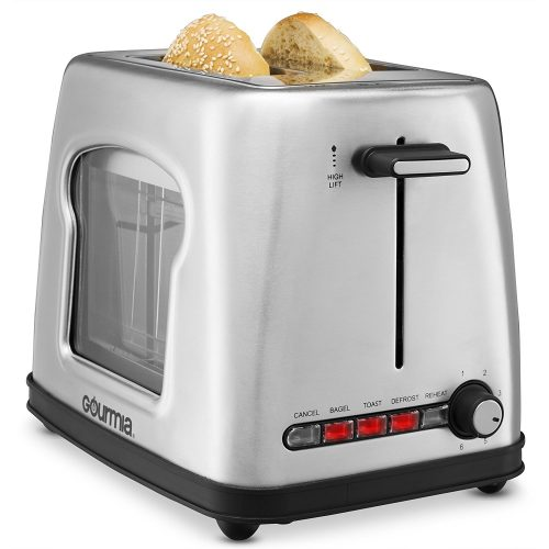 New & Improved Gourmia GWT430 Stainless Steel Wide Slot Toaster With See Through Window - See-through Toasters