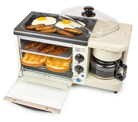 Nostalgia BSET100BC 3-in-1 Breakfast Station, Bisque - 2 slice toaster oven