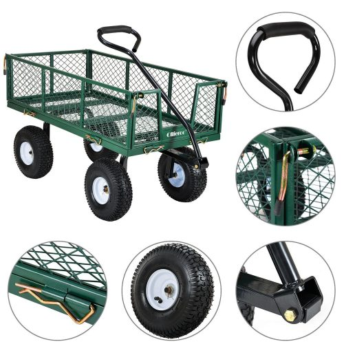 """Ollieroo Utility Wagon Farm and Ranch Heavy-Duty Steel Garden Cart with Removable Folding Sides and 10"""" Pneumatic Tires 660Lb Cax20"""" Bed Powder Coated Green Finish - heavy duty lawn"""