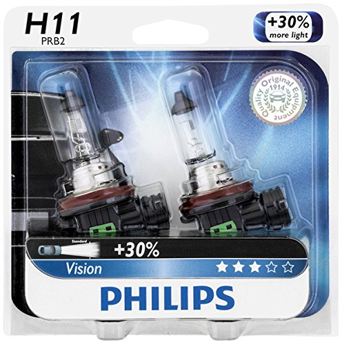 Philips H11 Vision Upgrade Headlight Bulb/Foglight, 2 Pack - Automotive Headlight