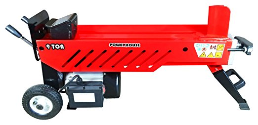 Powerhouse Log Splitters XM-580 9 Ton Electric Hydraulic Horizontal Log Splitter, Red/Black/Silver - Electric Log Splitters