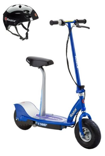 Razor E300S Seated Electric Motorized Scooter (Blue) & Youth Helmet (Black) - Electric Scooters with Seat