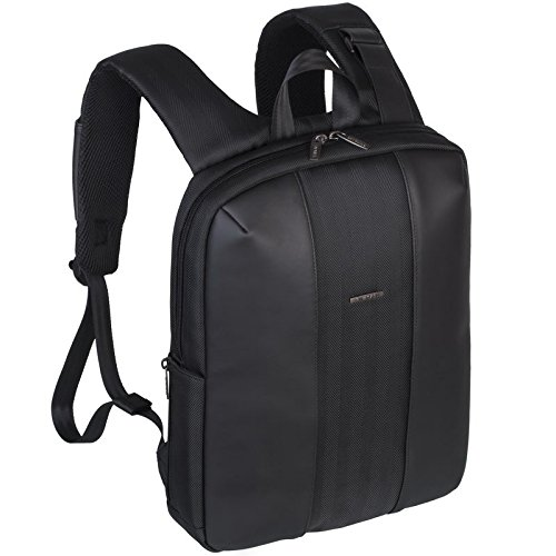 Rivacase 8125 13 - 14 Inch Laptop Backpack | Slim | Elegant | Waterproof | Black | PU Leather - 14-inch laptop backpacks