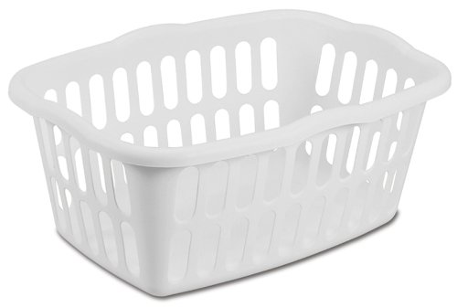 Sterilite 12458012 1.5 Bushel/53 Liter Rectangular Laundry Basket, White, 12-Pack - Plastic Laundry Baskets