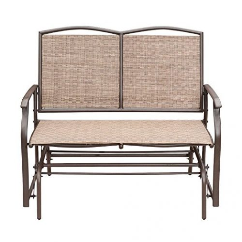 SunLife Outdoor Indoor Glider Loveseat Set Rattan Resin Wicker Patio Bench  Furniture Double For 2 Person