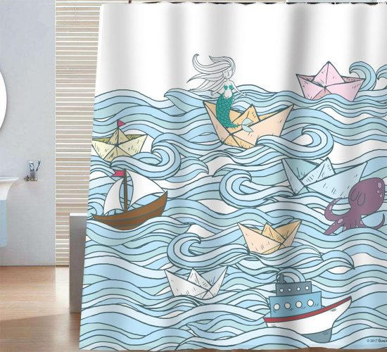 Sunlit Hand Drawn Design Mermaid PaperBoat Sail Boat Waves and Octopus Shower Curtain- Shower Curtain