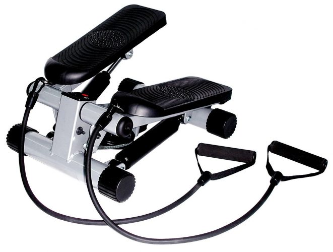 Sunny Health & Fitness Mini Stepper with Resistance Bands - portable elliptical