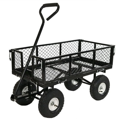 Sunnydaze Utility Cart with Removable Folding Sides, Black, 34 Inches Long x 18 Inches Wide, 400 Pound Weight Capacity. - heavy duty lawn