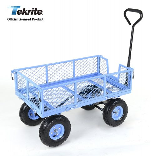 TEKRITE Heavy Duty Lawn Garden Utility Cart Wagon With Removable Side Meshes, 400 lbs Capacity, Blue. - heavy duty lawn