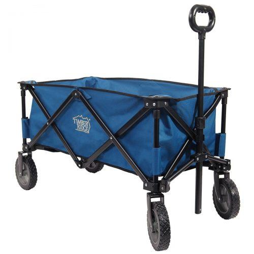 TimberRidge Folding Camping Wagon, Garden Cart, Collapsible, Blue. - heavy duty lawn