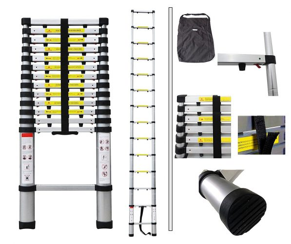 Todeco - Telescopic ladder, Foldable Ladder - Maximum load: 330 lbs - Number of steps: 14 - 13.5 feet, USA, FREE Carry bag, Extra gap. - Telescoping Ladder