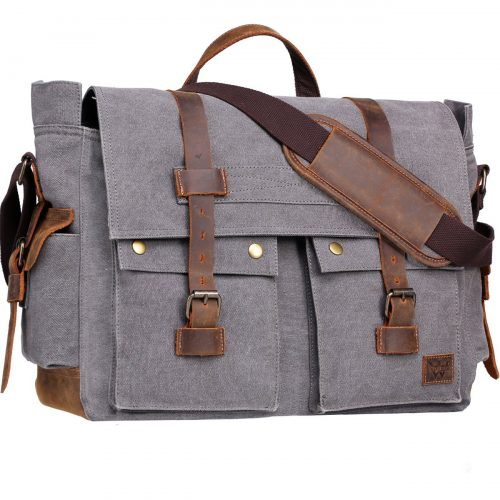 7f633fe18e2 Wowbox 17 Inch Men's Messenger Bag Vintage Canvas Leather Satchel bag  Military Shoulder Laptop Bags Bookbag Working Bag for Men and Women (Grey)