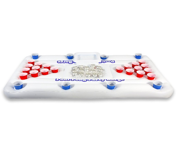 GoPong Pool Party Barge Floating Beer Pong Table with Cooler, White, 6-Feet - Beer Pong Tables