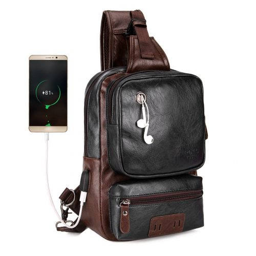 VICUNA POLO Men Sling Backpack Anti-theft External USB Charge Men Crossbody Bag Large Capacity Casual Travel Man Bag - Sling Bags for Men
