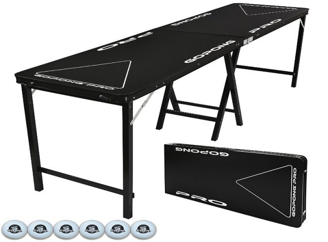 GoPong PRO 8 Foot Premium Beer Pong Table - Heavy Duty (Black, 36-Inch Tall) - Beer Pong Tables