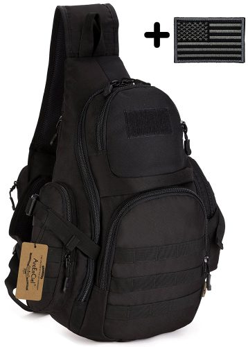 ArcEnCiel Tactical Sling Pack Backpack Military Shoulder Chest Bag with Patch - Sling Bags for Men
