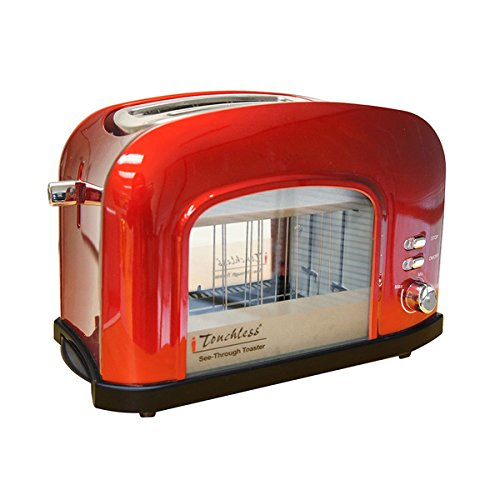 iTouchless Candy Apple Red See-through Automatic 2-Slice Bread Toaster - See-through Toasters