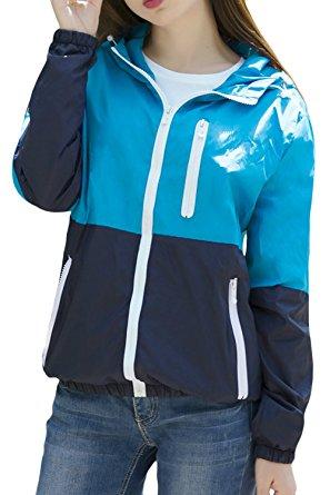 Lasher Women's Sun Protect Outdoor Jacket Quick Dry Windproof Windbreaker Coat (Small, Blue) - Windbreaker jackets