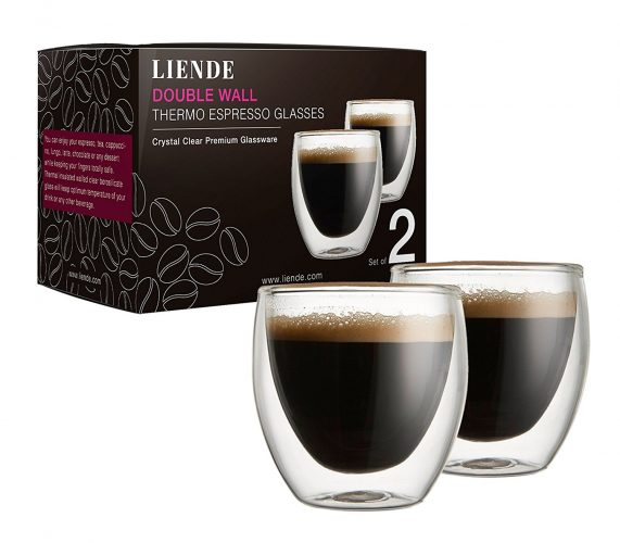 Double Wall Glass Espresso Cups Sets (Set of 2) – 2.7oz (80ml) Thermo Coffee Glasses. - Espresso Cup Set