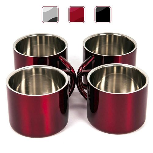 Red Stainless Steel Double Wall Espresso Cups, Small, Set to 4. - Espresso Cup Set