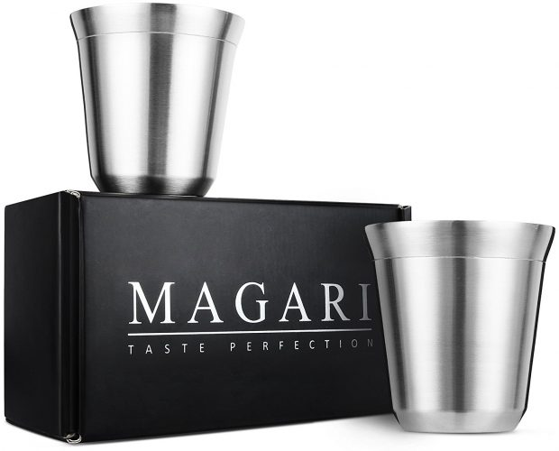 Stainless Steel Espresso Cups - Set of 2 Double Walled 5.5 Ounce Coffee Glasses, Elegant Gift for Connoisseurs - Unbreakable, No Metal Taste Demitasses Last a Lifetime - Thermally Insulated. - Espresso Cup Set
