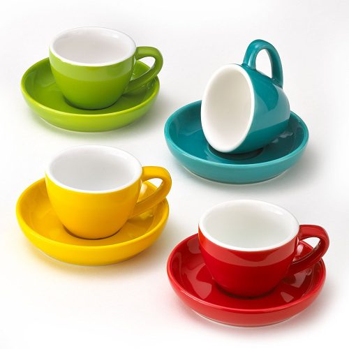 Espresso Cups and Saucers, Set of 4 Assorted Vibrant Colors, 3-Ounce Demitasse for Coffee, Durable Porcelain. - Espresso Cup Set