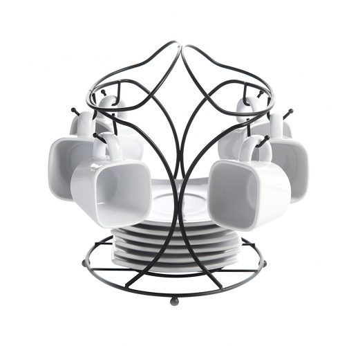 Gibson Gracious Dining Espresso & Saucer Set with Metal Rack, White - Espresso Cup Set
