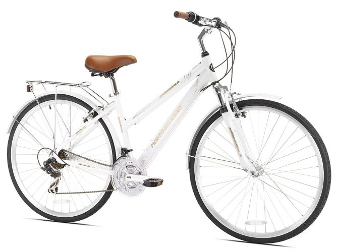 Northwoods Ladies Crosstown 21 Speed Hybrid Bicycle, White. - Hybrid Bikes Under 400