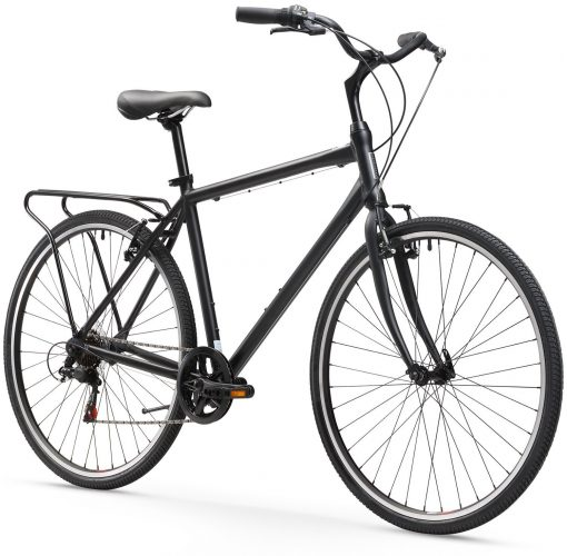 Sixthreezero Explore Your Range Men's 7-Speed Hybrid Commuter Bicycle, 20-Inch Frame/700C Wheels, Matte Black - Hybrid Bikes Under 400