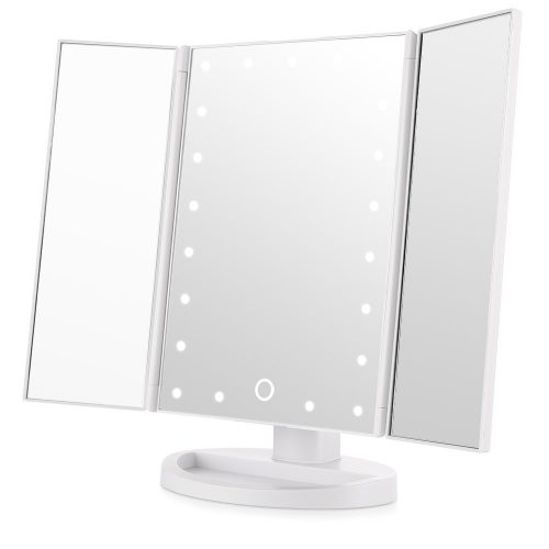 Ease hold Led Lighted Vanity Mirror Makeup Tri-Fold with 21Pcs Lights 180 Degree Free Rotation - Make Up Mirror