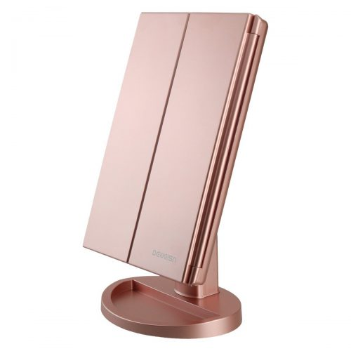 RICHEN DeWEISN Tri-Fold Lighted Vanity Makeup Mirror with 21 LED Lights, Touch Screen Travel Cosmetic Mirror (Rose Gold). - Make Up Mirror