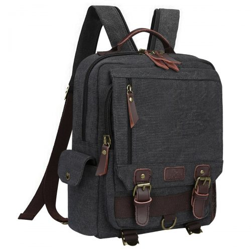 S-Zone Sling Canvas Cross Body 13-inch Laptop Messenger Bag Shoulder Backpack (Dark Gray-Zipper shoulder) - 13 Inch Laptop Backpacks