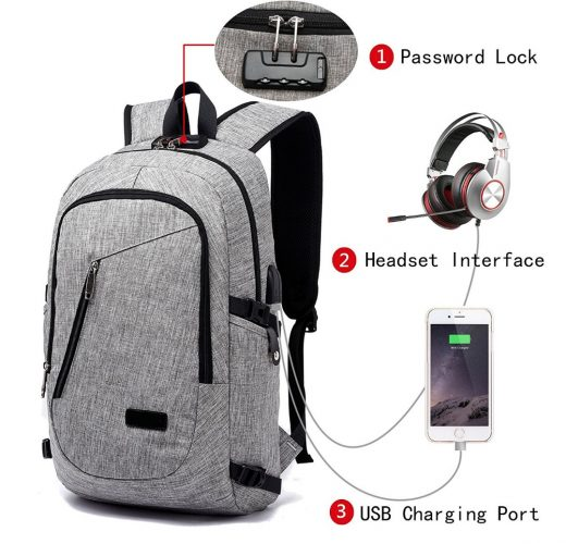 FLYMEI Laptop Backpack with USB Charging Port and Lock & Headphone Compartment, Fits 12-16 inch laptop and Notebook, Waterproof School Rucksack Business Knapsack Travel Daypack College Bookbag, Grey - 13 Inch Laptop Backpacks