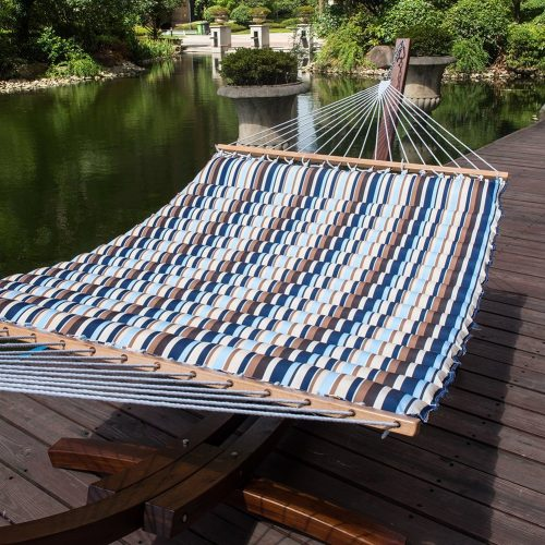 Lazy Daze Hammocks 58 Inch Double Size Pillow Top Hammock Swing Bed with Spreader Bar Heavy Duty for Two Person, 450 lbs Weight Capacity (Seaside)
