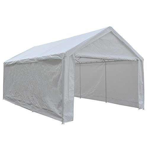 Abba Patio 12 x 20-Feet Heavy Duty Carport, Portable Garage Car Canopy Shelter with Detachable Sidewalls, White