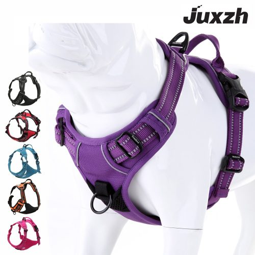 JUXZH Soft Front Dog Harness. Best Reflective No Pull Harness with handle and Two Leash Attachments