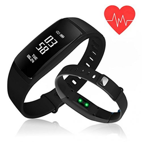 Fitness Tracker, Kirlor Blood Pressure Heart Rate Monitor Waterproof Activity Tracker, Bluetooth Wireless Smart Wristband Bracelet with Replacement Band for Android & IOS