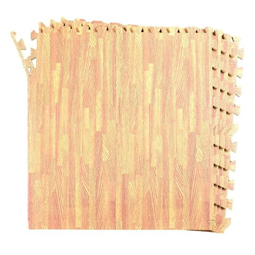 16-SQFT Wood Grain Floor Mat Oak Playmat 4-tile Interlocking EVA Foam with 8-boarder by Poco Divo