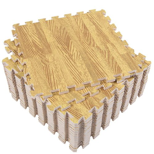 Superjare 16 Tiles (16 tiles = 16 sq.ft) Eva Foam Interlocking Tiles Protective Flooring Mat with Borders - Dark Wood Grain/ Light Wood Grain