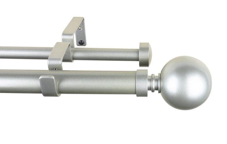"Meriville 1-Inch Diameter Ball Telescoping Double Window Treatment Curtain Rod (48""-84"", Pewter)"