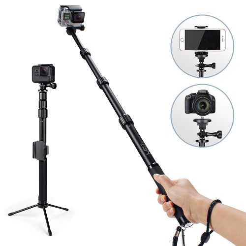 HSU Handheld Monopod Extension Pole With Phone Clip Holder, Tripod Stand, Waterproof Selfie Stick for GoPro Hero 6/5 Black/Session , Digital Cameras and Cell Phone | Extendable At 44''