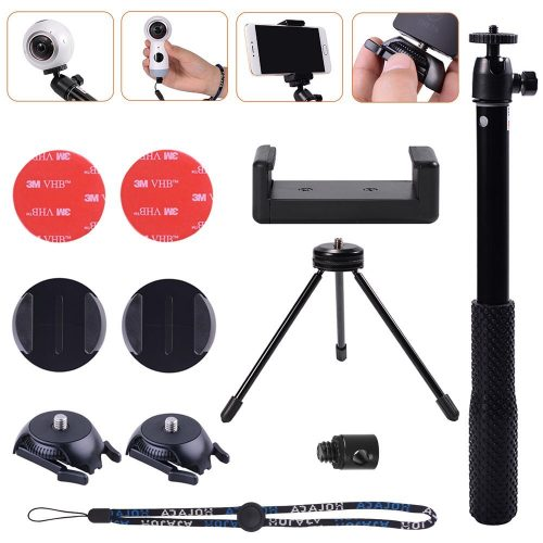 Selfie Solution Kit with Tripod Stand&Adhesive Quick Release for Samsung Gear 360, Gear 360 2017 Edition Cam,360fly 360° Cam, Ricoh Theta S SC M15 Theta V &LG 360 CAM, Garmin Virb 360 Camera by HOLACA