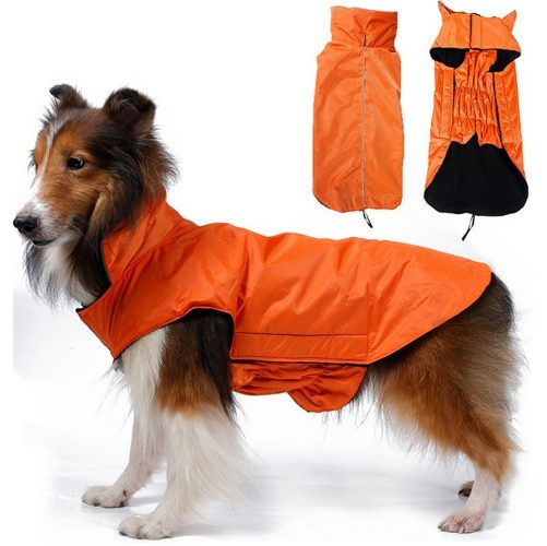OHF Waterproof Dog Coat Jacket, Fleece Lined For Warmth, Chest Protector, Reflective Piping For night Safety