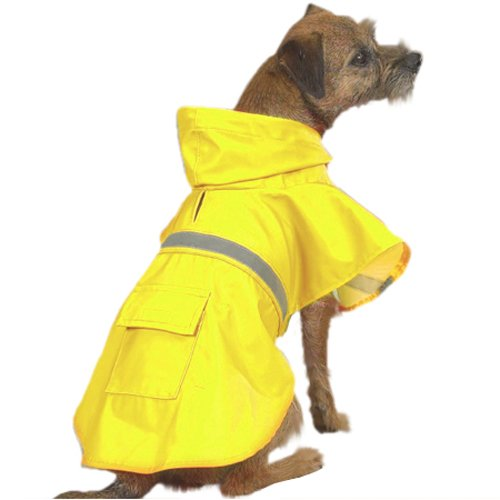 Dog Rain Coat - Yellow w/Reflective Stripe - XX-Large (XXL)
