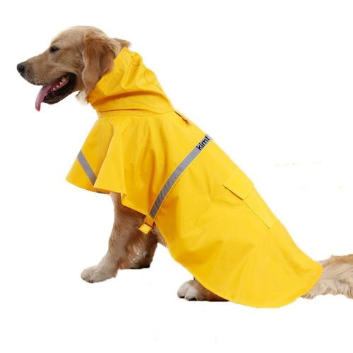 Kimfoxes Dog Raincoats Fashion Dog Rain Poncho Reflective Strips and PU Waterproof Raincoat for Dogs